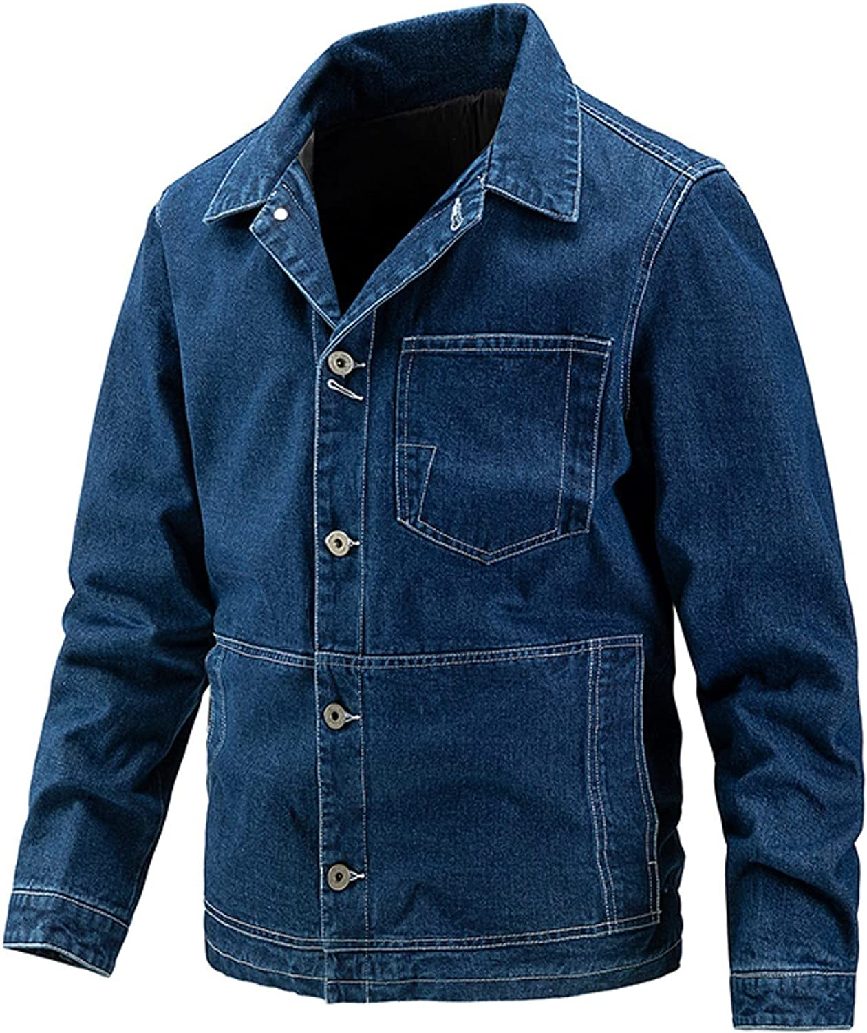 TEVEQ Men's Jean Jacket Fall Winter Was Casual Max 41% OFF Solid Award Color Loose