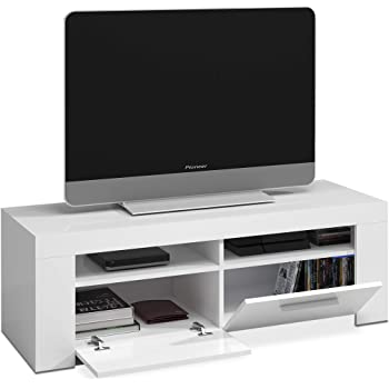 Habitdesign 006621A - Mueble de Comedor Moderno, modulo TV Salon, Modelo Ambit, Acabado en Color Blanco Artik, Medidas: 120 cm (Ancho) x 40 cm (Alto) x 42 cm (Fondo ...