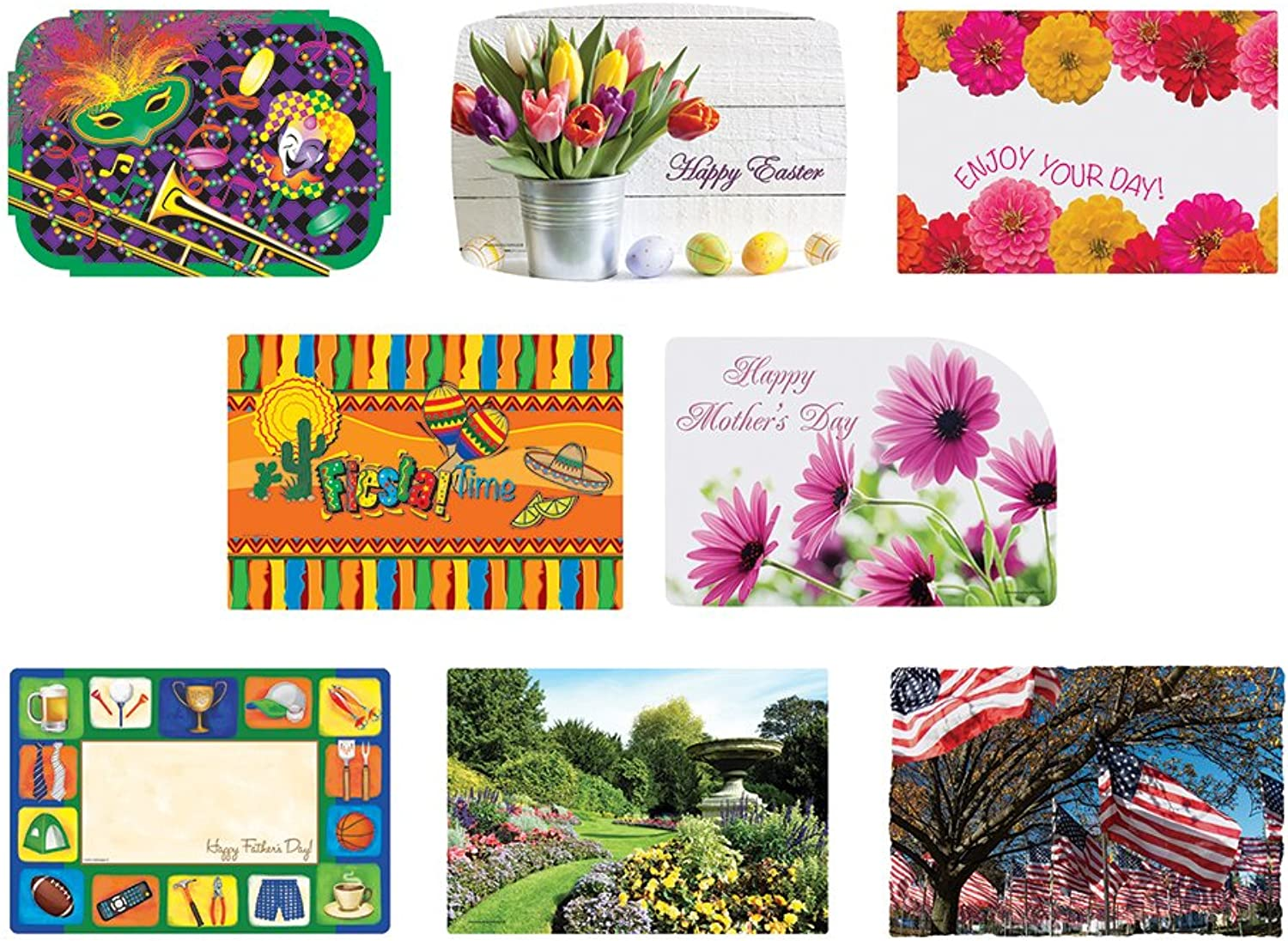 Hoffmaster 857205 Spring Seasonal Occasions Placemats, 8 Designs per Case, 9-3 4  x 14 , Printed (8 Packs of 125)