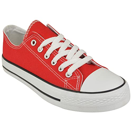 f378cbc327e80 MyShoeStore Ladies Canvas Shoes Womens Girls Shoes Casual Lace Up Retro  Plimsolls Plimsoles Low Top Flat