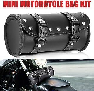 Everrich Motorcycle Handlebar Bag Small Motorcycle Fork Bag Front Fork Roll Barrel Bag Sissy Bar Tool Bag Waterproof Leather-For Harley Sportster Davidson Honda Suzuki Kawasaki Vulcan