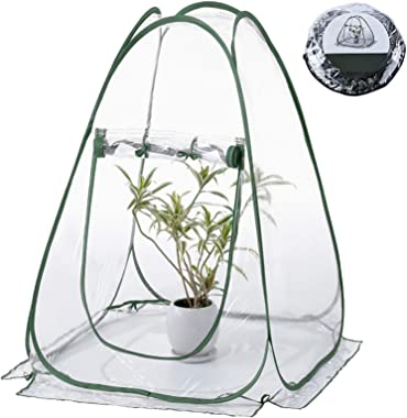 Kakeah Pop up Greenhouse, Portable Mini Greenhouse Tent, Outdoor Green Gardening Plant Hot House, Flower Pot Cover for Garden