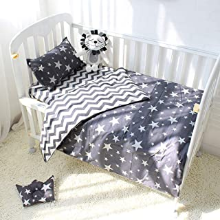 Nursery 3-Piece Star Print Cotton Baby Crib-Bedding-Set (Gray White)