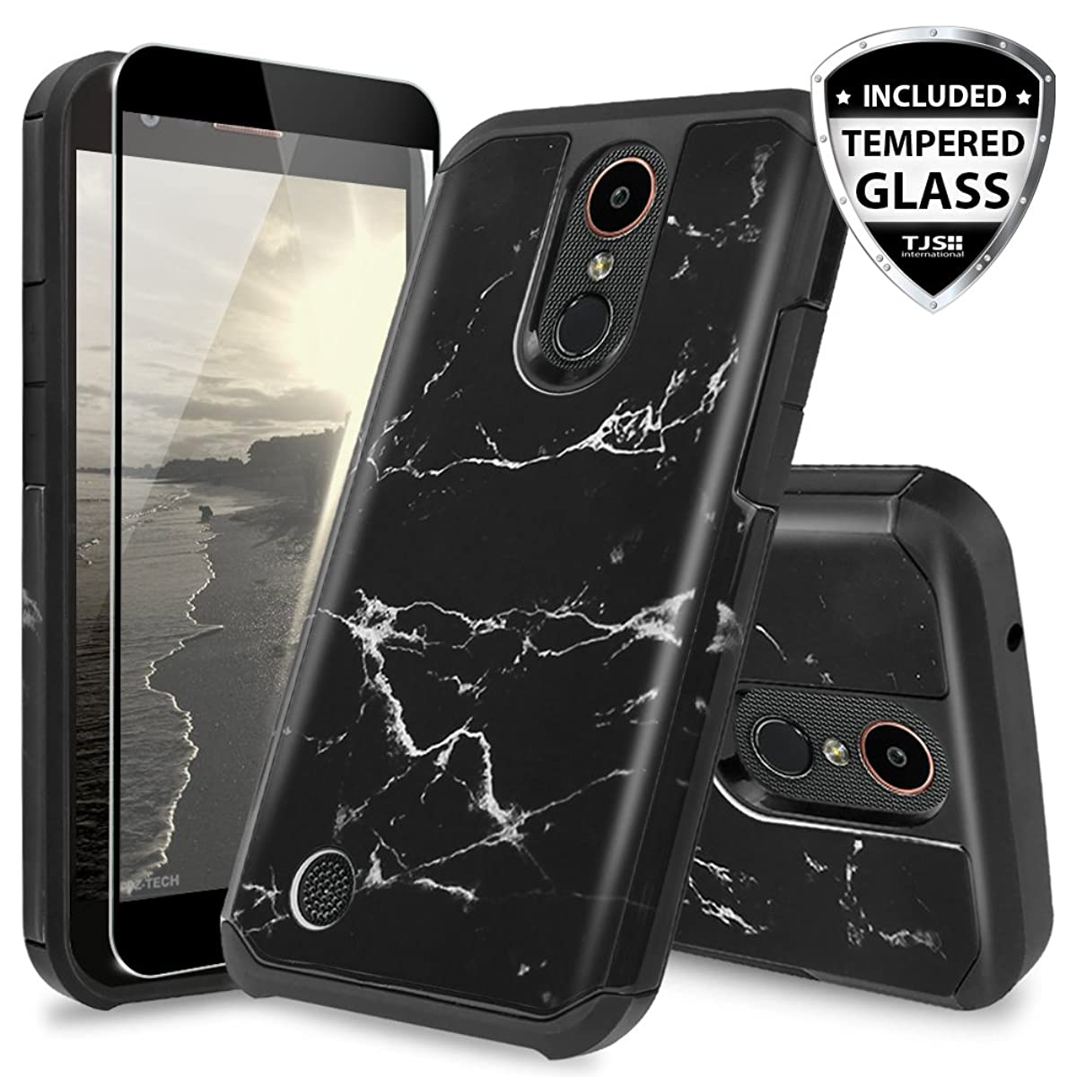 TJS Case for LG Aristo/Aristo 2/Aristo 2 Plus/Aristo 3/Aristo 3 Plus/Tribute Dynasty/Tribute Empire/Rebel 3 LTE/Phoenix 4 [Full Coverage Tempered Glass Screen Protector] Marble Phone Cover (Black)