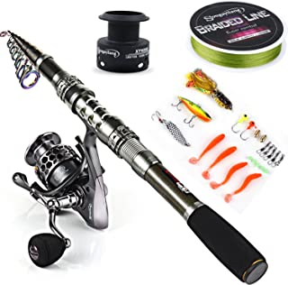 Sougayilang Spinning Fishing Rod and Reel Combos Portable Telescopic Fishing Pole Spinning reels for Travel Saltwater Fres...