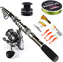 Sougayilang Spinning Fishing Rod and Reel Combos Portable Telescopic Fishing Pole Spinning reels for Travel Saltwater Freshwater Fishing