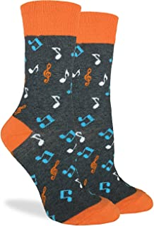 Good Luck Sock Women's Orange Music Notes Crew Socks - Grey, Adult Shoe Size 5-9