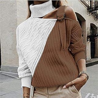 PKYGXZ Suéter para Mujer Otoño/Invierno Jersey de Punto con Costura Suéter con Hombros Descubiertos a la Moda Jersey Sudad...