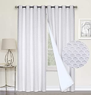 100% Blackout Curtains,Silver White Double Layer Lined,Heat and Full Light Blocking Drapes with White Liner for Nursery, 96 inches Drop Thermal Insulated Draperies (Silver White, 52 x 96)
