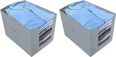 Heart Home Non -Woven 2 Pieces Shirt Stacker Wardrobe Organizer (Grey) CTHH11813