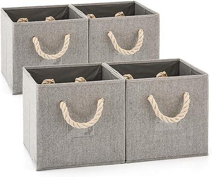 JVL Lot de 3 gris blanc cassé coton corde paniers de rangement
