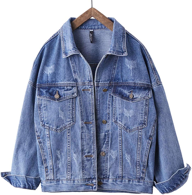 Loose Boyfriend Denim Jacket Women's Fashion bluee Long Sleeve Casual Jacket Coat (color   Light bluee, Size   L)