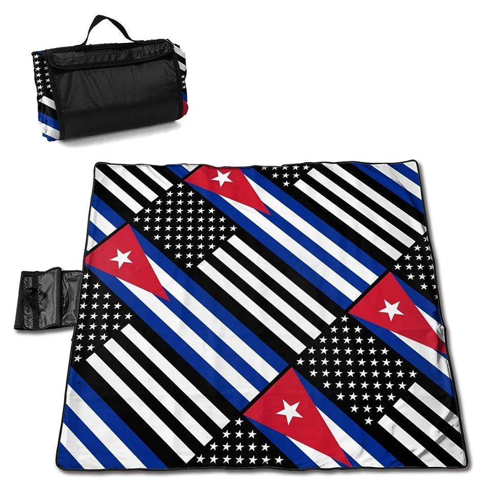 XL-HUALA USA Cuba Cuban Flag Picnic Blanket Picnic Mat Waterproof Outdoor Picnic Blanket Tote Handy Camping Beach Hiking Mat 57