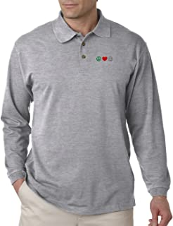 Peace Love Volleyball Embroidery Design Long Sleeve Unisex Polo Jersey Shirt
