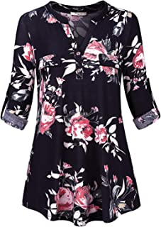 Womens Roll Sleeve Blouse Flowy Shirt V Neck Work Casual Tunic Tops