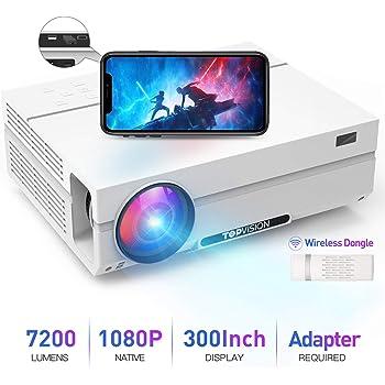 """TOPVISION Rétroprojecteur Portable,7200 Lumen avec 80 000 Heures Vidéoprojecteur 1080P Natif Full HD, Supporte 4K 300"""" Domicile/Professionnel pour Smartphone/PC/TV Box/PS4/PPT/EXCEL"""