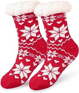 Hotelvs Calcetines de Navidad, Invierno Mujer Gruesos Lana Calcetines Térmicos de Piso Antideslizantes, Tejer Doble Lana C...