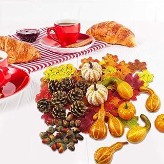 166ピースハロウィンどんぐりベリー秋収穫装飾キット人工カボチャミニひょうたん感謝祭リアルな秋メープルリーフ松ぼっくり