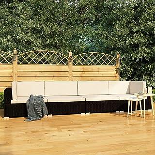 UnfadeMemory Conjunto de Sofás Exterior de Jardín con Cojines,Muebles Terraza Exterior,Ratán Sintético (Negro y Blanco Crema, 4 Piezas)