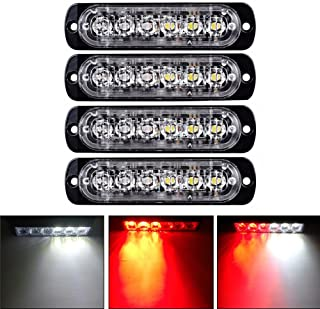 XT AUTO 6LED Car Truck Emergency Beacon Warning Hazard Flash Strobe Light Red/White 4-pack