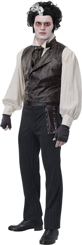 Excellent 5 popular Men's Sweeney Todd Costume Cost Adult Black Cosplay