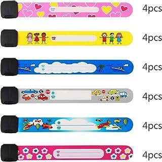 pulsera seguridad niños ZoomSky 24pcs para evitar perder bebes de pulsera niño ID impermeable de pulsera identificativa niños y escribir nombre y numero de telefono