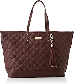 BCBG Paris Women's Quilted Faux-Leather Tote Handbag, Red - Large