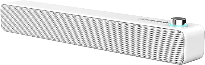 LENRUE PC Soundbar, Wired and Wireless Speaker 14W 3D Surround Sound with Bass, Support for Projector, Tablet, PC, Desktop, Phone and TV (AUX/RCA, White)