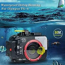 Sea frogs 195FT/60M Underwater Camera Waterproof Diving housing for Olympus TG-3/TG-4 Black (Housing + Red Filter)