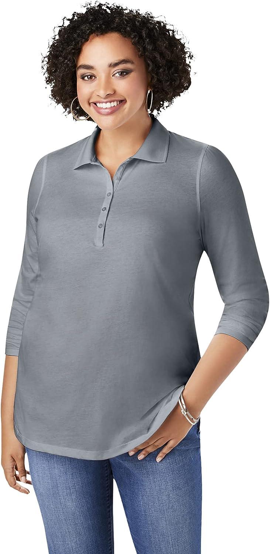 Roamans Women's Plus Size Long-Sleeve Polo Ultimate Tee Shirt