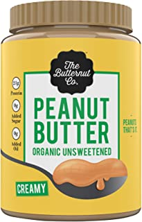 The Butternut Co. Peanut Butter Organic Unsweetened, 1KG (No Added Sugar, Vegan, High Protein, Keto)