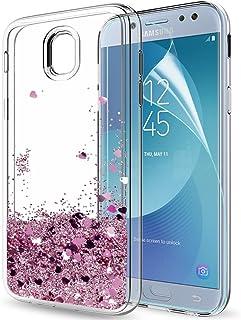 819e54d2bbe LeYi Funda Samsung Galaxy J5 2017 Silicona Purpurina Carcasa con HD  Protectores de Pantalla,Transparente
