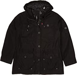 Plus Size Hooded Cotton Military Parka Jacket