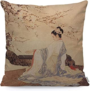 WONDERTIFY Throw Pillow Cover Case Ancient Chinese Beauty Girl Under Plum Blossom Play Zither - Soft Linen Pillow Case for Decorative Bedroom/Livingroom/Sofa/Farm House - Cushion Covers 18x18 Inch
