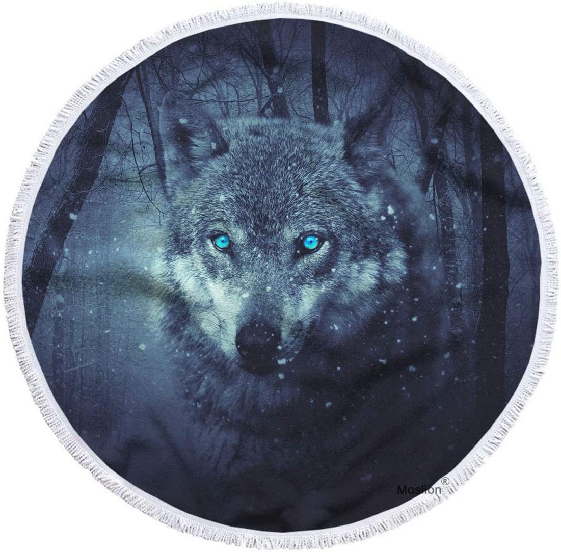 Moslion Wolf Beach Cheap super special price Towel Blanket Wild Wolves Animal Ranking TOP20 Ey with Blue