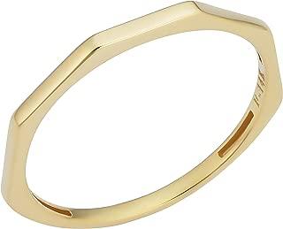 KoolJewelry Minimalist Women's 14k Yellow Gold Hexagon Geometric Ring (1.5 mm)