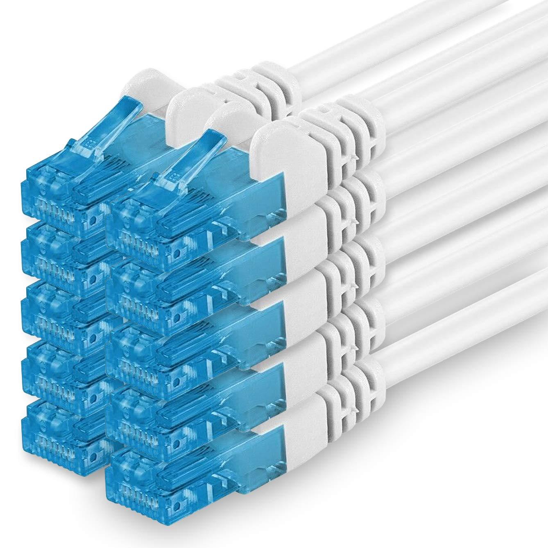 Cable de Red de Pares Trenzados, apantallado, categoría 6 (A) (500 MHz, 10 GB/s), Compatible con Cable LSZH de categoría 5e, 5, 6, 7, 8, conmutador de Router Blanco 10 Unidades de Color Blanco. 0,5 m