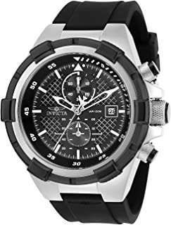 Men's Aviator Stainless Steel Quartz Silicone Strap, Black, 26 Casual Watch (Model: 28095)