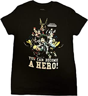 T-Shirt - All Might, Midoriya, Bakugo, Todoroki Group Men's Black Tee Shirt