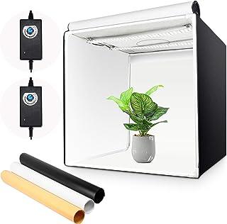 Yorbay Fotostudio set 60 x 60 x 60 cm LED-fotobox lichtkubus professionele fotografie lichttent incl. 3 PVC-achtergrondfol...