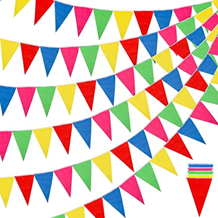 Banner 200 Flags Nylon Triangle Pennant Chain Flag for Party Outdoor Garden NE