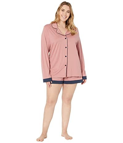 Cosabella Plus Size Bella Long Sleeve Top Boxer PJ Set (Pink Terracotta/Navy Blue) Women