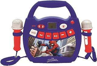 Lexibook- Spiderman-Lecteur Musical karaoké Portable pour Enfant avec micros et Effets Lumineux, Bluetooth, USB, Fonctions...