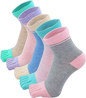 Calcetines Cortos de Algodón para Mujer Calcetines con Dedos Separados, Calcetines de Dedos de Deporte para Mujer, talla 35-41, 4/5pares