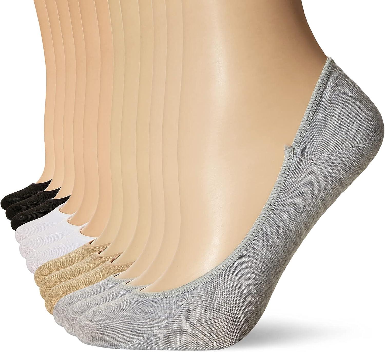 PEDS Women's Essential Low Cut No Show Socks, 12 Pairs, Light Grey/White/Black/Nude, Shoe Size: 5-10