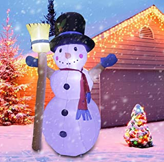 BESTPARTY 8 Foot LED Light Up Christmas Inflatable Cute Standing Snowman- Yard, Home Party Blow Up Decoration