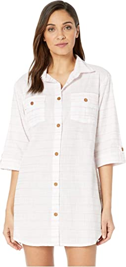 Baja Stripe Shirtdress Cover-Up