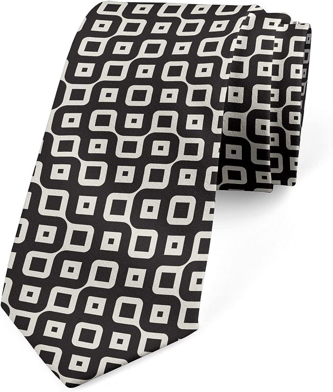 Ambesonne Necktie, Retro Connected Squares, 3.7