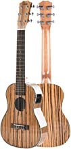 Left Handed - Caramel 6 String CB103GL 30 Inch High Gloss Zebra Wood Acoustic & Electric Ukulele Guitalele with Truss Rod