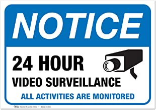 """(2 Pack) Video Surveillance Vinyl Sign - 7x10"""" Sticker Self-Adhesive Decal Poster - Weatherproof, by ARMO"""